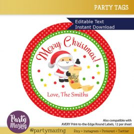 Last Minute Printable Christmas Labels, Editable Santa Claus Gift Sticker Tags, Merry Christmas Tags, Stickers, Gift Tags D386