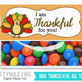 Last Minute Printable Thanksgiving Bag Toppers, Turkey Thank You Bag Tags,  I am thankful for you Bag Topper , Instant download D693