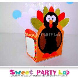 Last Minute Printable Thanksgiving Box, Turkey Favor Box - Turkey  Printable PDF Box D081