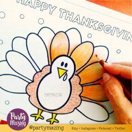 Last Minute Printable Thanksgiving Coloring Page, Cute Turkey Thanksgiving Page, Happy Thanksgiving Dinner, Instant Download D496
