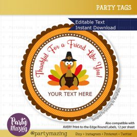 Last Minute Printable Thanksgiving Labels, Editable Personalized Diy Tags, Happy Thanksgiving Tags, Stickers, Gift Tags D784