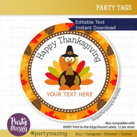 Last Minute Printable Thanksgiving Tags, Editable Diy Happy Thanksgiving Tags, Stickers, Gift Tags, Cupcake Toppers, D778