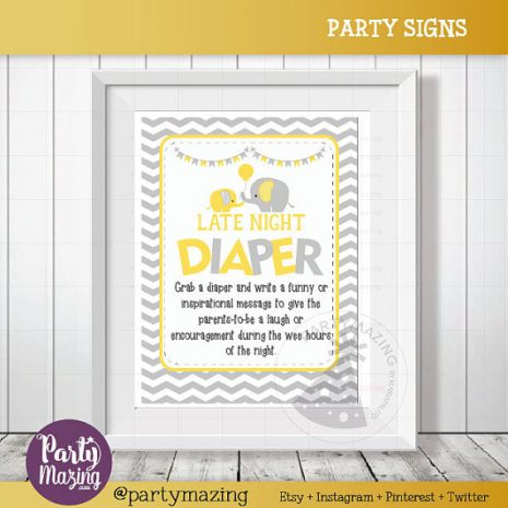 Late Night Diaper Game Sign, Elephant Baby Shower Favor Sign, Yellow and Grey Chevron, DIY Printable, INSTANT Download D836