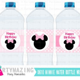 Minnie Mouse Printable Water Bottle Wrappers,  Happy Birthday, Baby Pink Bows, Instant download  D610