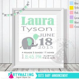 Mint Elephant Birth Announcement, Nursery Baby Announcement, Printable Wall Art  D373