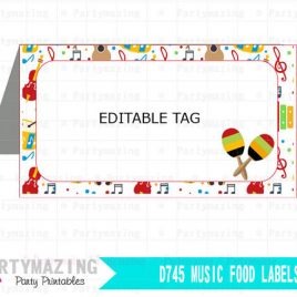 Music Party Buffet Cards. Editable Printable Food Label. Favor Tag. Instant Download,  D745