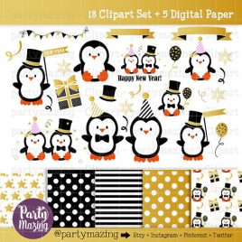 New Year Penguin Clipart, Gold Party Kawaii Graphics, Clipart Planner, Kawaii Clipart, Christmas Clipart, COMMERCIAL USE, Kawaii D239