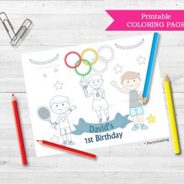 Olympic Coloring Page, Personalized Coloring Page, Custom Favor, Placemat. Coloring page for kids, Sport Birthday Party Activity D825
