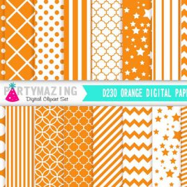 Orange Digital Paper Pack, Chevron Polka Dot Stripe Digital Paper Scrapbook Background, Basic Digital Paper Pack D230