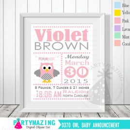 Owl Baby Announcement, Nursery Baby Birth Announcement, Printable Wall Art  D370