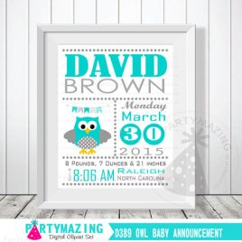 Owl Baby Announcement, Turquoise Nursery Baby Birth Announcement, Printable Wall Art  D389