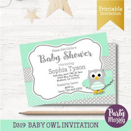 Owl Baby Shower Invitation, Printable Owl Invitation, Mint and Grey Neutral Baby Shower Invitations, Mint Owl Baby Shower Collection  D319