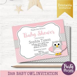Owl Baby Shower Invitation, Printable Owl Invitation, Pink and Grey Girl Baby Shower, It's a Girl, Pink Owl Baby Shower Collection D318