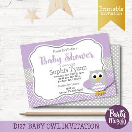 Owl Baby Shower Invitation, Printable Owl Lavender and Grey Baby Shower D127