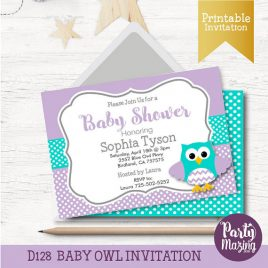 Owl Baby Shower Invitation, Printable Owl Lavender and Turquoise Baby Shower D128