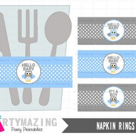 Owl Baby Shower Napkin Rings,  Hello Baby,Owl DIY Printable Party Napkin Rings , Instant download, Baby Blue Owl Baby Shower Collection D425