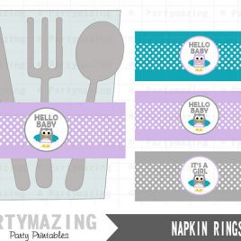 Owl Napkin Rings,  Lavender and Turquoise Owl Baby Shower, It's a Girl ,Printable Napkin Rings , Instant download, D402