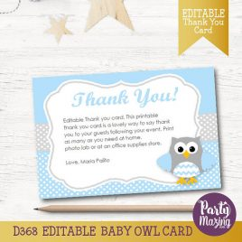 Owl Thank You Card, EDITABLE Printable Cards, Baby Blue and Grey Owl Baby shower Cards, Instant Download, Collection D368