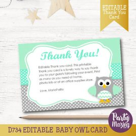 Owl Thank You Card,  EDITABLE Printable Cards, Mint and Grey Owl Baby shower Cards, Instant Download, Collection  D734