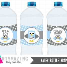 Owl Water Bottle Wrappers, Baby Blue Owl Printable It's a Boy Baby Shower, Instant download, Baby Owl Baby Shower Collection D548
