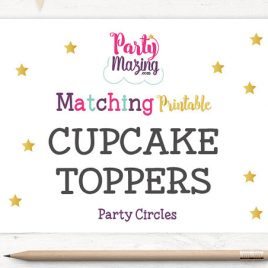 Party Circles, Cupcake Toppers Upgrade, Made to Match Custom Cupcake Toppers, Custom Colors and/or Wording to match my current themes D296