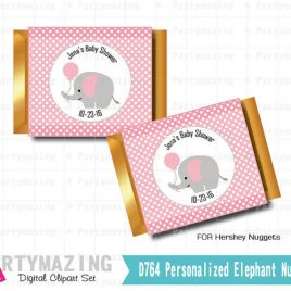 Personalized Elephant Hershey Nugget Candy Wrapper, Personalized Nugget Chocolate Wrappers, DIY, Instant download D764