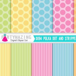 Polka Dot Digital Paper, Pastel Striped digital paper, scrapbook paper, Digital Background, Instant Download D094