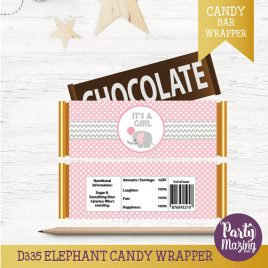 Printable Candy Wrappers, It's a Girl, Chocolate Bar Wrappers, DIY, Instant download, Pink Elephant Baby Shower Collection D335