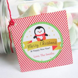 Printable Christmas Labels, Editable Christmas Penguin Tags, Merry Christmas and Happy New Year Stickers, Instant Download  D570