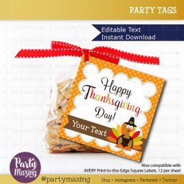 Printable  Editable Thanksgiving Tags, Editable Printable Thanksgiving Tags, I Am Thankful For You Tags, Stickers, Gift Tags D781