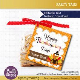 Printable  Editable Thanksgiving Tags, Editable Printable Thanksgiving Tags, I Am Thankful For You Tags, Stickers, Gift Tags D781