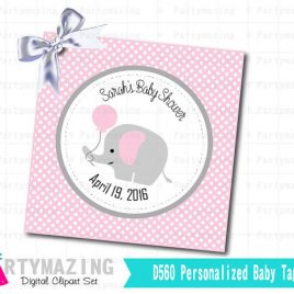 Printable Elephant Tags, Baby Shower Girl Elephant Tags, PERSONALIZED Printable Tags ,Baby shower Personalized Tags or Stickers  D560