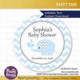 Printable Elephant Tags, Editable Chevron Baby Blue Elephant Baby Shower Tags, Stickers, Cupcake Toppers,  Instant Download D810