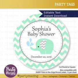 Printable Elephant Tags, Editable Chevron Baby Mint Elephant Baby Shower Tags, Stickers, Cupcake Toppers,  Instant Download D812