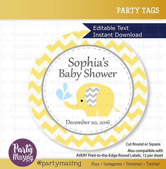 photograph regarding Printable Elephant Baby Shower titled Printable Elephant Tags, Editable Chevron Boy or girl Yellow Elephant Youngster Shower Tags, Stickers, Cupcake Toppers, Immediate Obtain D811