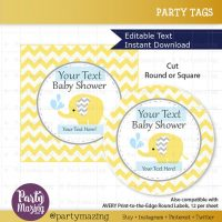 Printable Elephant Tags, Editable Chevron Baby Yellow Elephant Baby Shower Tags, Stickers, Cupcake Toppers,  Instant Download D811