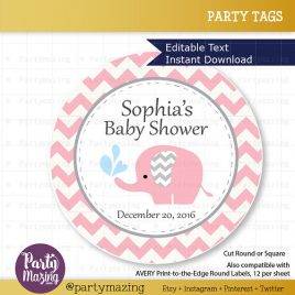 Printable Elephant Tags, Editable Chevron Elephant Baby Shower Tags, Stickers, Cupcake Toppers,  Instant Download D808