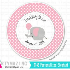 Printable Elephant Tags, PERSONALIZED Baby shower Elephant Stickers, Personalized Tags, Stickers, Gift Tags, Cupcake Toppers, D507