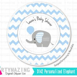Printable Elephant Tags, PERSONALIZED Printable Stickers, Baby Blue Chevron Elephant Baby shower Personalized Stickers  D124