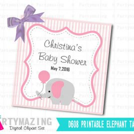Printable Elephant Tags, PERSONALIZED Printable Stickers,Pink Elephant Baby shower Personalized Stickers  D608