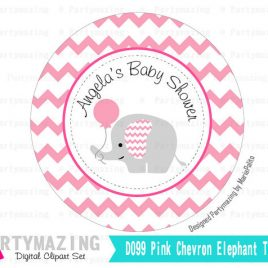 Printable Elephant Tags,  PERSONALIZED Printable Stickers,Pink It's a Girl Chevron Elephant Baby shower Personalized Stickers  D099