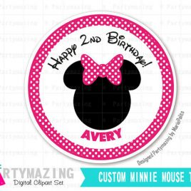 Printable Minnie Mouse Tags, Stickers, Printable Custom Stickers, PERSONALIZED Printable Stickers,Pink Polka dot Stickers D403