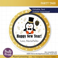 Printable New Year Eve Penguin Tags, Editable Personalized Diy Tags, Cute Happy Tags, Stickers, Kids Gift Tags, Cupcake Toppers, D785