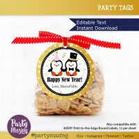 Printable New Year Tags, Editable Penguin Couple Tags, Personalized Diy Tags, Happy Holiday Tags,  Cute Gift Tags, Cupcake Toppers D183