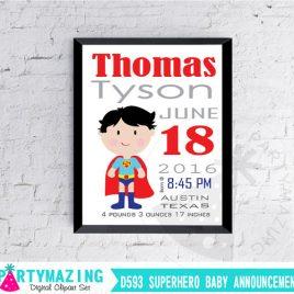 Superhero Birth Announcement, Superman Nursery Baby Announcement, Printable Wall Art  D593