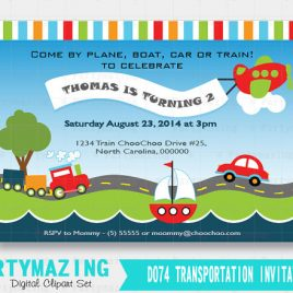 Transportation Invitation,  Printable Transportation Invite , Personalized Invitation  D074