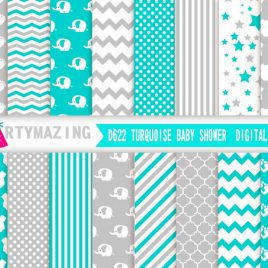 Turquoise and Grey Digital Paper, Baby shower  Elephant, Chevron Polka Dot Digital Paper Scrapbook Background D622