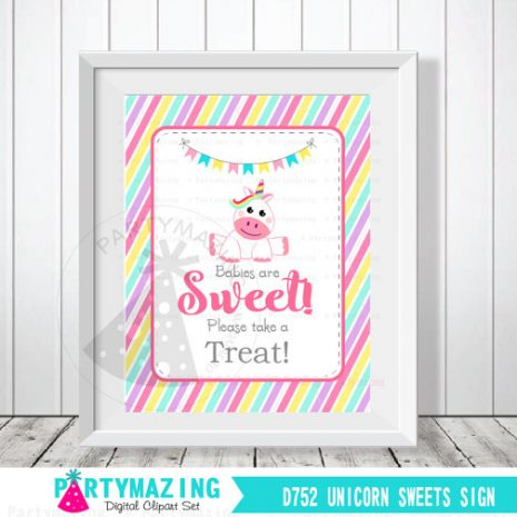 Unicorn Sign, Babies Are Sweet Please Take A Treat Sign, Unicorn Candyland Baby Shower Favor Sign, DIY Printable, INSTANT Download D752