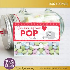 Valentine Printable Bag Topper, Editable Elephant with Balloon Tag, You make my heart pop Tag, Personalized Label D654