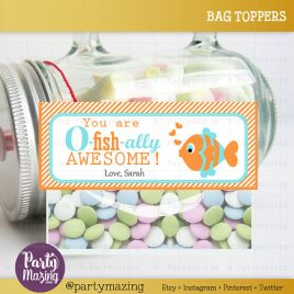 Valentine Printable Bag Topper, Editable You are O-Fish-ally Awesome Tag, Valentine's Day Fish Tags, Personalized Label D823